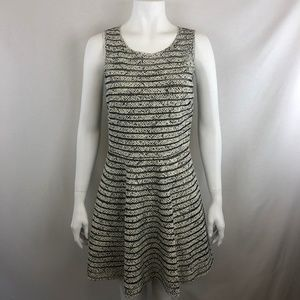 Parker White Black Mesh Silk Panel Dress Size M